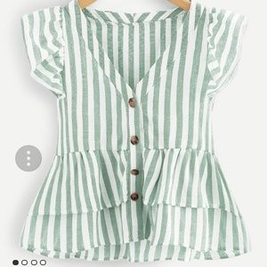 Plus green stripe top